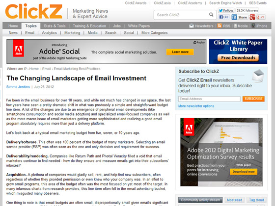 ClickZ - The Changing Landscape of Email Investment