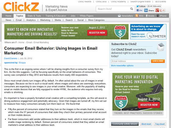 ClickZ - Consumer Email Behavior: Using Images in Email Marketing
