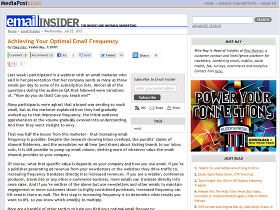 MediaPost - Achieving Your Optimal Email Frequency