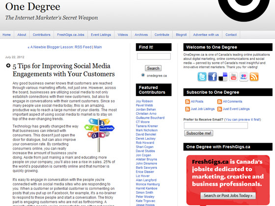 One Degree - 5 Tips for Improving Social Media Engagements with Your Customers