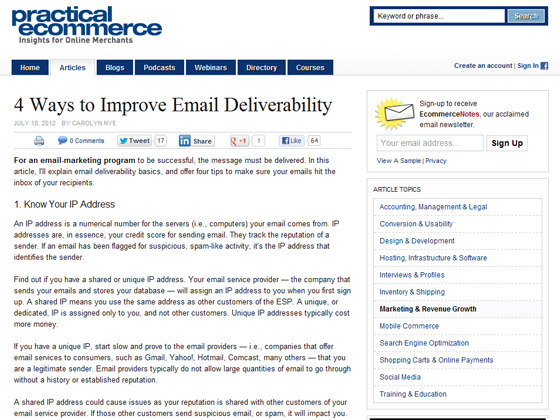 Practical Ecommerce - 4 Ways to Improve Email Deliverability