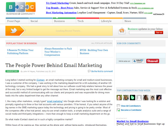 Business 2 Community - The People Power Behind Email Marketing