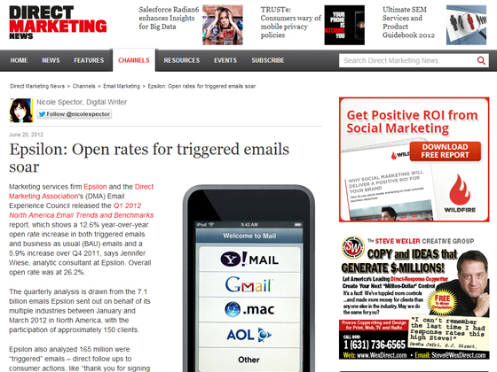 Epsilon: Open rates for triggered emails soar