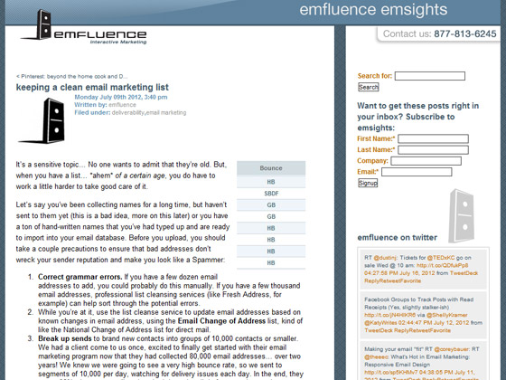 emfluence - keeping a clean email marketing list