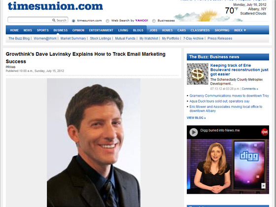 timesunion - Growthink's Dave Lavinsky Explains How to Track Email Marketing Success