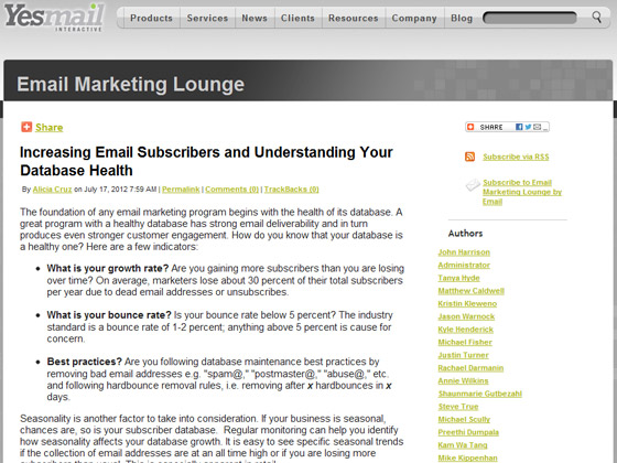 Yesmail - Increasing Email Subscribers and Understanding Your Database Health