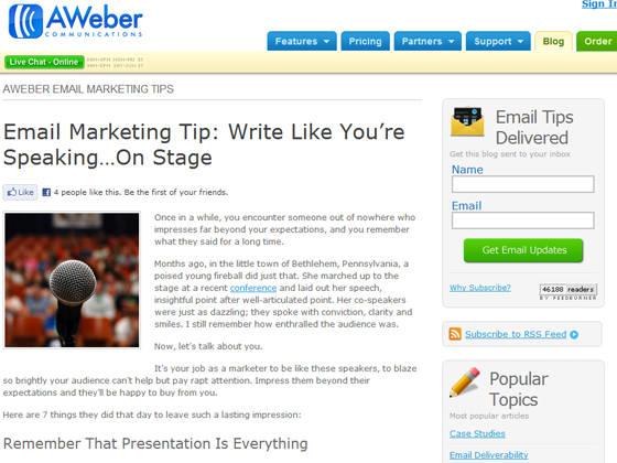 Email Marketing Tip: Write Like You're Speaking…On Stage