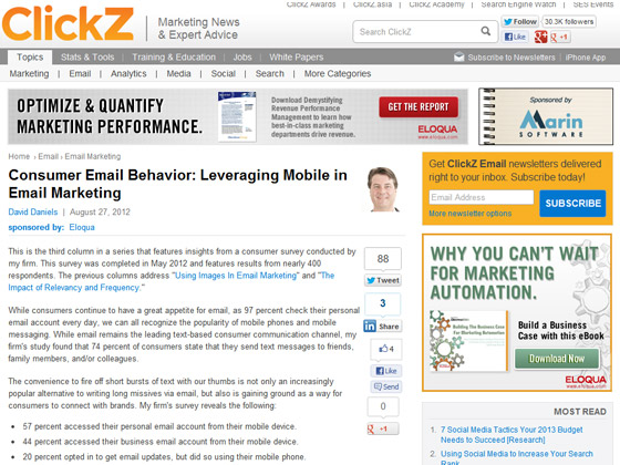 Consumer Email Behavior: Leveraging Mobile in Email Marketing
