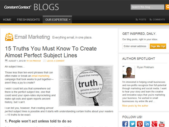 Constant Contact - 15 Truths You Must Know To Create Almost Perfect Subject Lines