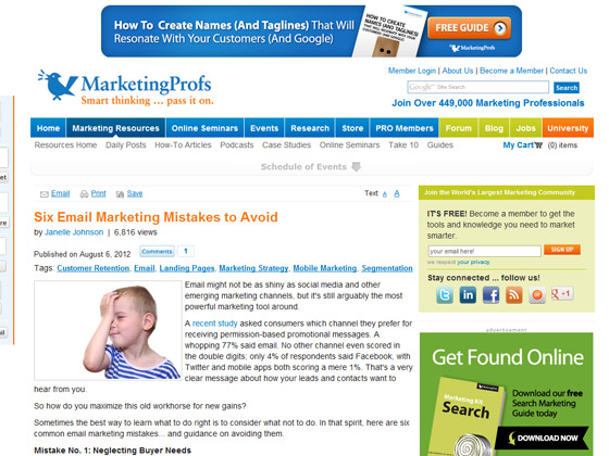 Six Email Marketing Mistakes to Avoid