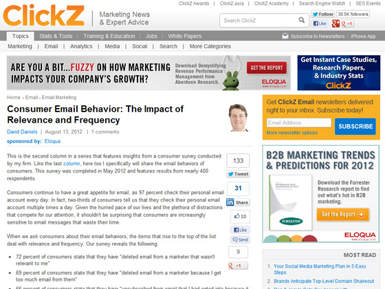 Consumer Email Behavior: The Impact of Relevance and Frequency