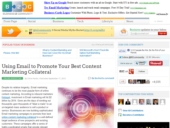 Using Email to Promote Your Best Content Marketing Collateral
