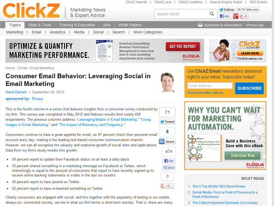 Consumer Email Behavior: Leveraging Social in Email Marketing