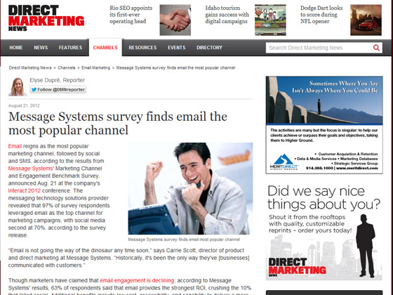 Message Systems survey finds email the most popular channel
