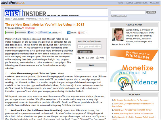 Three New Email Metrics You Will be Using in 2013