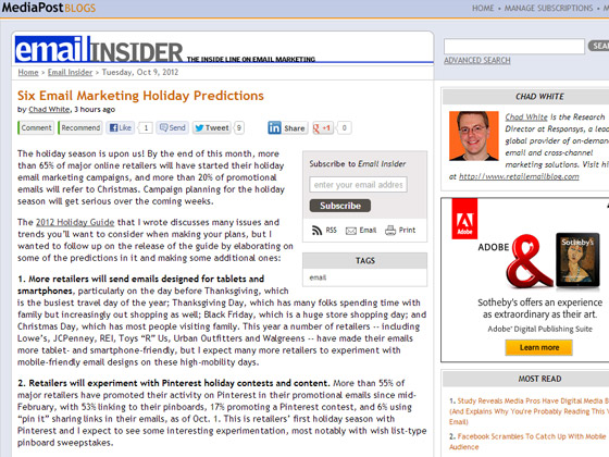 Six Email Marketing Holiday Predictions