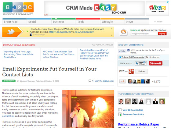 Business 2 Community - Email Experiments: Put Yourself in Your Contact Lists