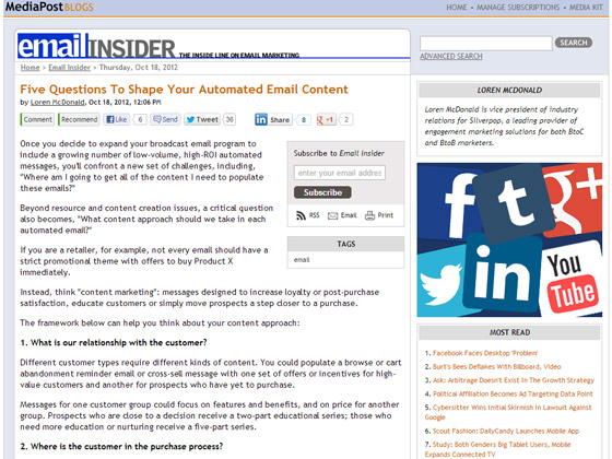 Five Questions To Shape Your Automated Email Content