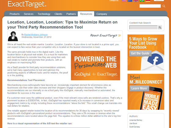 Location, Location, Location: Tips to Maximize Return on your Third Party Recommendation Tool