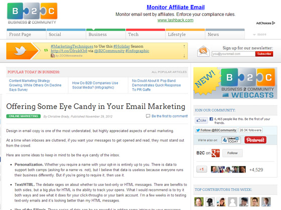 Offering Some Eye Candy in Your Email Marketing