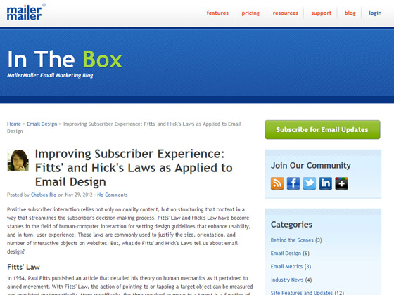 Improving Subscriber Experience: Fitts' and Hick's Laws as Applied to Email Design