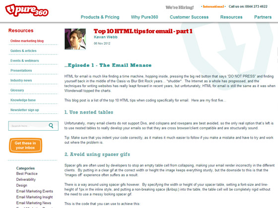 Top 10 HTML tips for email - part 1