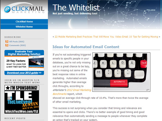 Ideas for Automated Email Content