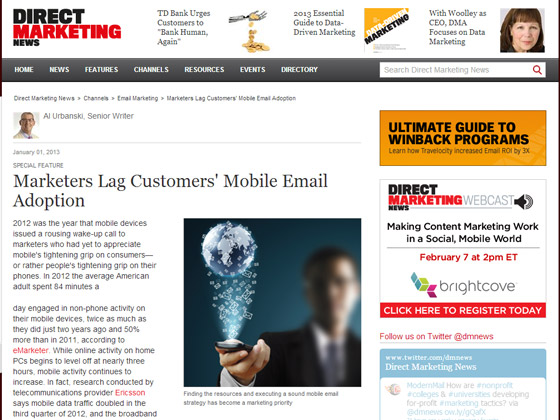 Marketers Lag Customers' Mobile Email Adoption