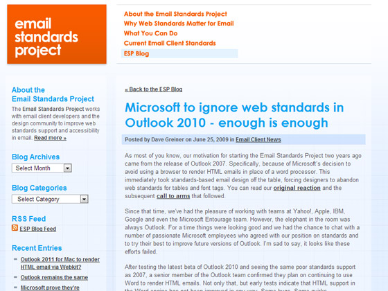 Microsoft to ignore web standards in Outlook 2010 - enough is enough