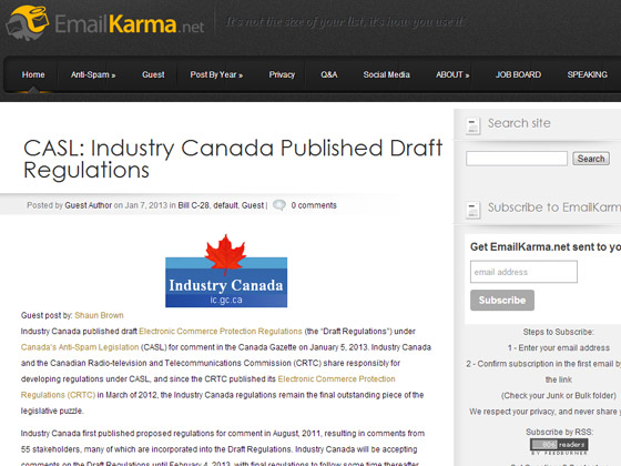 EmailKarma - CASL: Industry Canada Published Draft Regulations
