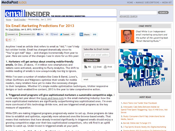 Six Email Marketing Predictions For 2013