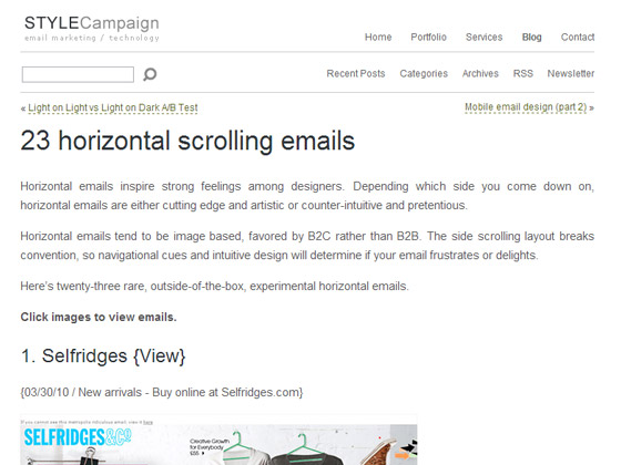 23 horizontal scrolling emails
