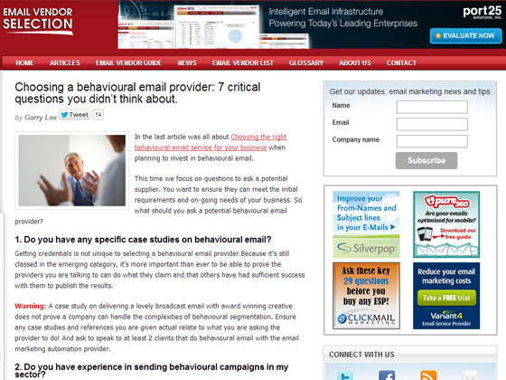 Choosing a behavioural email provider: 7 critical questions you didn't think about.
