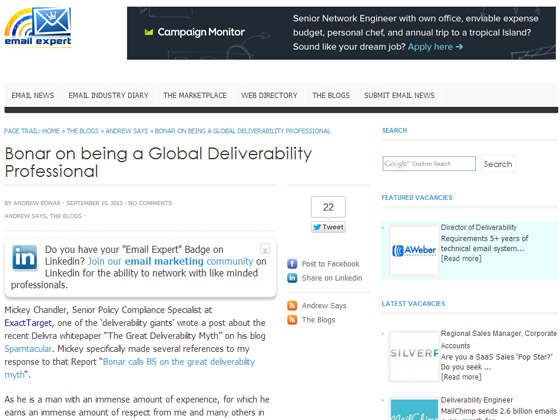 Email Expert - Bonar on being a Global Deliverability Professional